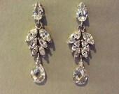 Art Nouveau Sparkling Cubic Zirconia  earrings - sparkling bridal earrings