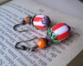 AUDACIOUS CIRCUS - Antiqued Vivacious Orange Circus Vintage Lucite  Earrings