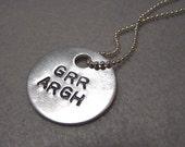GRR ARGH aluminum pendant necklace