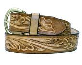 Hand Tooled Leather Belt Western Floral