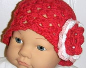 Handmade Crochet Hat with Flower 3 to 6 Months READY TO SHIP
