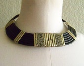vintage 60s black leather and silvertone egyptian revival choker and bracelet set