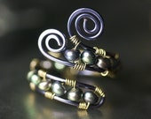 Peacock Freshwater Pearl Caterpillar Copper Ring