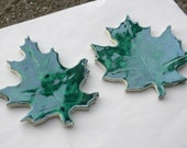 Large Maple and Oak Leaf Handmade Mosaic Ceramic Focal Tiles