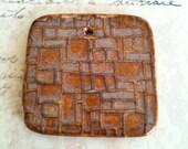 Random Boxes Large Square Pendant in Autumn Glaze