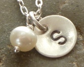 Pearl and Initial Personalized Sterling Silver Petite Disc Necklace with Freshwater Pearl and Oval Link Chain