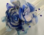 Blue Prom Corsage Wristlet