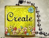 7/8in Glass Tile Pendant Necklace - Create On Vintage Style Yellow Demask Floral Background With Colorful Flowers - Free Ball Chain Necklace