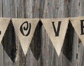 LOVE with Red Hearts Burlap Banner Wedding Valentine - We Do Custom Banners