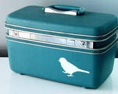 Vintage Upcycled Aqua Blue TRAIN CASE - hand painted - Carry on - Weekend bag - Makeup Case - Organizer - Luggage