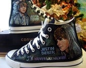 Never Say Never -Justin Bieber hand painted personalized Converse