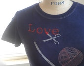 Crochet Love ladies Tee Shirt with ball of yarn and crochet hook in navy blue or custom colors