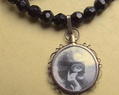Necklace with Vintage Czech Faceted Glass Beads and La Castiglione The Countess of Castiglione
