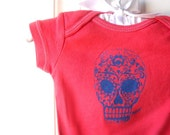 dia de los muertos Sugar Skull onesie baby bodysuit in red or custom colors 0-24 months