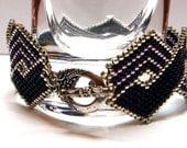 Black and Silver Herringbone Bracelet