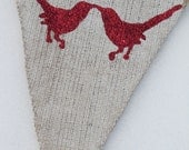 LOVE BIRDS...Red Glitter White Painted Burlap Banner Pennant Bunting for WEDDING, Anniversary, Valentines Day, or Everyday