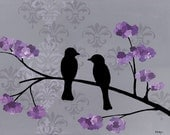 15% OFF shop wide with coupon 15CIJ11 - Love birds 10 x 8 Print, purple flowers, gray damask, original artwork