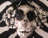 La Catrina Dia de los Muertos Flower skull necklace