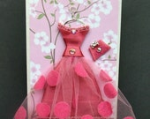 Pink Blossom Personalised Dress Card / Handmade Greeting Card