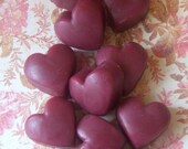12 Hand Poured Richly Scented Sandalwood Valentine Heart Melt Away Tarts Ready to Ship