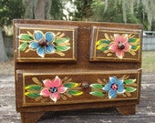 Wooden Hand Painted Jewelry Chest of Drawers