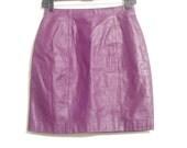 Vintage 1980s Purple Leather Mini Skirt