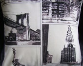 Throw Pillow New york nyc fabric statue of liberty chrysler building lower manhattan sky line and  brooklyn bridge One 18 inch black brown beige cream