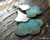 SARAH-Patina Copper and Silver Layered Ginkgo Leaf Earrings