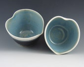 Stoneware / Ceramic Heart Shaped Bowls, Opal Blue and Temmoku    b176