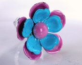 Blue and pink refashioned vintage earring ring