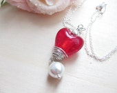 Love at First Sight Necklace - Lampwork beads and Silver - Valentine's day