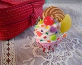 Sweets Deco Miniature Clay Cupcake Cell Phone Strap Bag Accessory Vanilla Frosting Cookie Candy Hearts Kawaii FREE GIFT