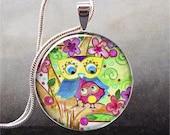 Garden Owls art pendant (160)