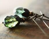 Czech Glass Copper Earrings Handmade, The Tentative Gardner