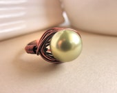 Handmade Ring - Size 10 - Swarovski Pearl - Bronze, Light brown, Copper, Brown, Green, Olive, Forest, Medium, Simple, Pearl, Classic, Pretty