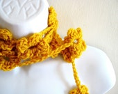 Yellow Crocheted Flowers Lariat Scarf