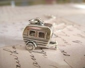 3-D Camper - Sterling Silver Charm Hanging on a FREE Silver Plated 18 inch Chain