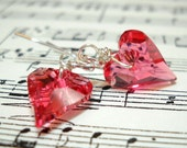 Kiss Me Pink - Wild Heart -  Swarovski Crystal Sterling Silver Earrings- Be My Valentine