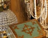 Antique Italian Florentine Aqua Carved Jewelry Box