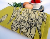 Squid Linens - chartreuse yellow - set of two