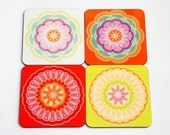 Set of 4 retro designed coasters printed various colorful  mandala designs