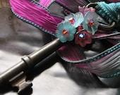 Magical Garden Key Necklace on Silk Ribbon