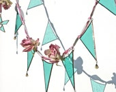 Let Them Eat Cake - a stained glass and millinery flower garland or bunting