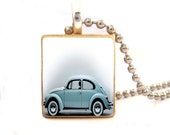 "Retro VW Bug ""Punch Buggy"" Scrabble Tile - Pendant, Key Chain or Magnet. Handmade by LetterPerfectStudio"