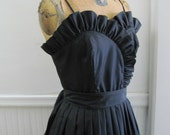1980's Black Sweet Heart & Ruffles Party Dress m