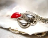 Queen Of Hearts, ooak silver, vintage and enamel heart necklace (free shipping)