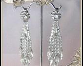 Vintage Designer Weiss Rhinestone Dangling Earrings