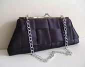 Handmade Framed Clutch Handbag with chain. Gunmetal gray weave