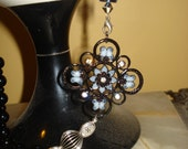 ON SALE Black Pearls and Love Chain Blue Pendant