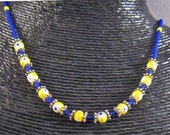 Blue and Yellow Millefiori Necklace